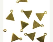 20% Shop Closing Tiny Blank Triangle Charms Raw Brass (10) CP245