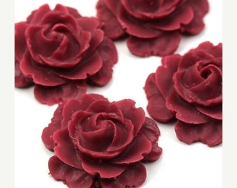 50% off Sale Plastic Flower Cabochons Matte Wine Red 23mm (2) PC279