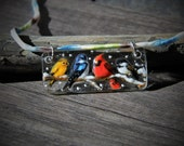 RESERVED Beautiful birds in the snow necklace - fused glass pendant - mixed birds on a tree branch- cardinal-  shallow- chickadee