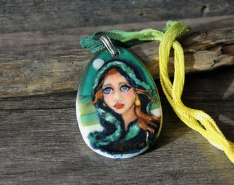 Bohemian  - fused glass pendant -  boho necklace