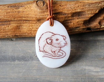 Cute rat - fused glass pendant