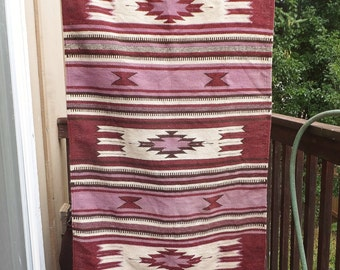 Vintage Wool Rug Wall Hanging Boho Textile Hanging Native American Decor Navajo Decor Mexico Rug Mexican Rug Southwest Rug Purple Rug
