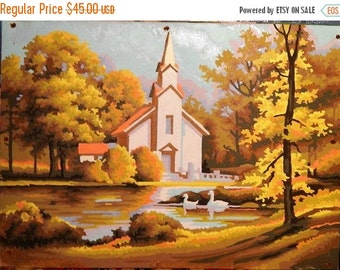 Valentines Day Sale 1960's Paint By Number, Church, Lake, Pond, Geese, Country Scene, Religious