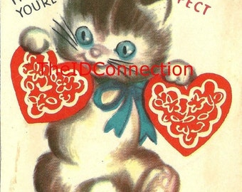 Valentines Day Sale Vintage Valentine Digital Download, Kitten, Feline, Blue Eyed Pussy Kitty Cat, Meow, I Think You're Purr-fect! Valentine