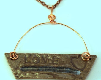 Hand Made Stoneware Pendant Necklace Love Heart Glass Gray Blue Copper OOAK