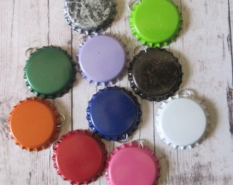 25 Regular Bottle Caps WITH SPLIT RING- You choose from silver or colored- No liners- The split rings are already attached to save you time