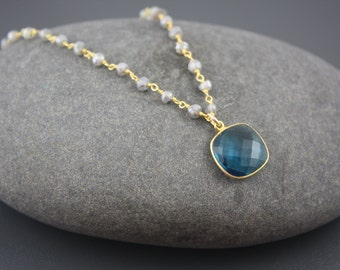 Blue Quartz and Labradorite Necklace- Gold FIlled by Yania Creations Jewelry
