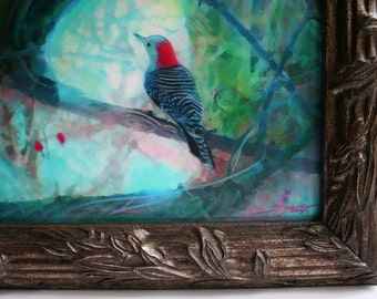 Perfect view, 11x13 inches Framed, 8x10 inch image, Mixed media photograph, Original, signed, birds