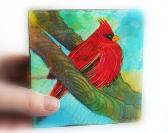 Spring Cardinal, 4x4 inches and 1.75 inches deep, miniature art, Original art, Art, nature photography, Rustic decor, #Cardinals