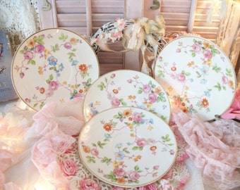 4 beautiful chintz china saucers, pope gosser usa, loose airy chintz flowered pattern, romantic shabby cottage, chic tea ware, tea party