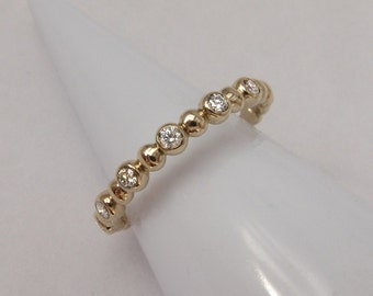 14k Diamond Bubble Ring, 14k Gold Diamond Ring, Gold 6 Stone Ring, 6 Stone Mothers Ring, Diamond Stack Ring
