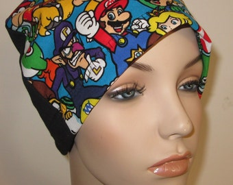 Mario Brothers Kids or Adults Lightweight  Hat -Chemo, Cancer, Alopecia,Sleep Cap, Summer Chemo Hat