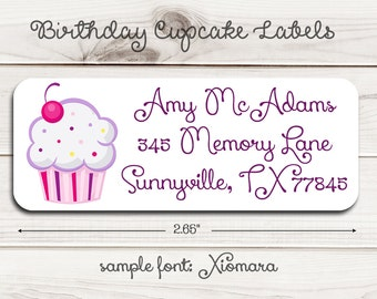Birthday Cupcake Return Address Labels