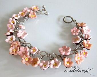 Pink Cherry Blossom Charm Bracelet - Pink Sakura Bracelet - Handmade Polymer Clay Flower Bracelet - Flower Bracelet