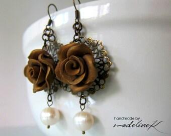 Bronze Rose Filigree Earrings, Rose Pearl Earrings, Polymer Clay Rose Earrings, Pearl Flower Dangle Earrings, Vintage Flower Jewelry