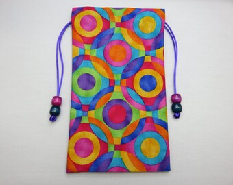 "Multi Colored Geometric Circles Silk Lined Tarot Bag, Tarot Pouch, Handmade 4 1/2"" x 7 3/4"""