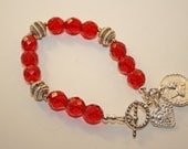 silver charms and Red Crystals Bracelet