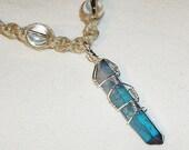 Celestial Aqua Aura Quartz with Chakra Gemstone Healing Gemstone Beads Hemp Necklace - Hemp Jewelry