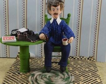 Kurt Vonnegut Doll Miniature Writer and Author Diorama Scene