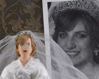 Diana Princess of Wales Doll Miniature Bridal Wedding Art Historical Collectible