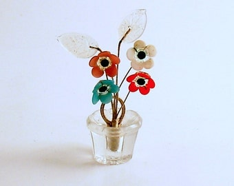Vintage Czechoslovakia Glass Flowers Place Card Holder