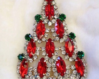 Stunning Sparkling Very Large Vintage Rhinestone Christmas Tree Brooch Pin