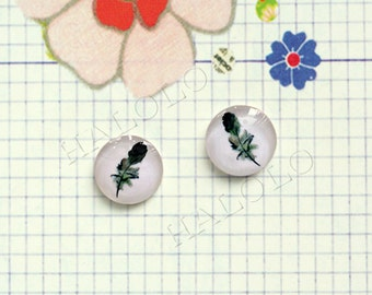 Sale - 10pcs handmade feather round clear glass dome cabochons 12mm (12-0296)