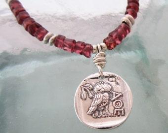 Handcrafted Silver Owl Seal Necklace, Rhodolite Garnet, Adjustable Cord, Boho Necklace