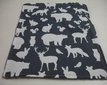Navy Woodland Animals Minky Baby Burp Cloth 12 x 16 READY TO SHIP