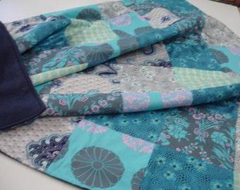 Midnight Garden Patchwork Fleece Blanket 49 X 49 READY TO SHIP On Sale