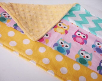 Sorbet Owls Yellow and Aqua Baby Burp Cloth 12 x 19 READY TO SHIP On Sale