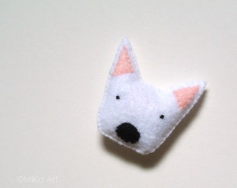Westie Brooch Westie Felt Pin West Highland White Terrier Felt Brooch Dog Stuffed Animal Plush Westie Pet Fashion Accessory Black White Pink