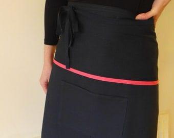 Barista or half apron in navy cotton
