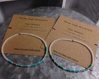 Soul Sister's Morse Code 2 pack Stretchy Bracelet Set - Teal