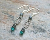 Labradorite and Russian Amazonite Gemstone Sterling Silver Earrings, Gray and Aqua Blue, Handmade Earrings, MindyG Jewelry