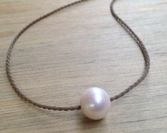 white freshwater pearl / handspun ROPE necklace / waterproof / kid-proof / life-proof / island jewelry / minimalist beauty / tula blue