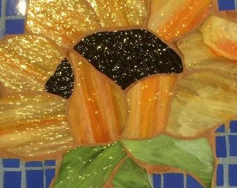Garden Stone Sunflower Stained Glass Mosaic