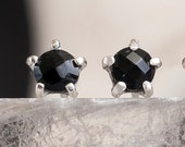 5mm Stone Warrior Studs | Silver and Black Onyx Earrings