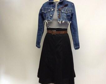 High Waisted Black Cotton Midi Skirt