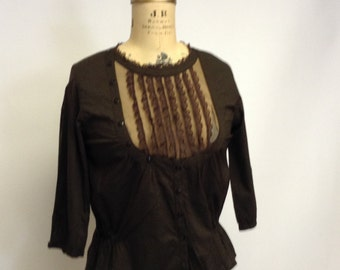 Handmade Victorian Chocolate Brown Cotton and Lace Blouse Med