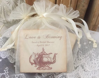 Tea Bag Favors Fully Assembled with Personalized Card Teapot Wedding Bridal Shower Organza Bags Love is Brewing