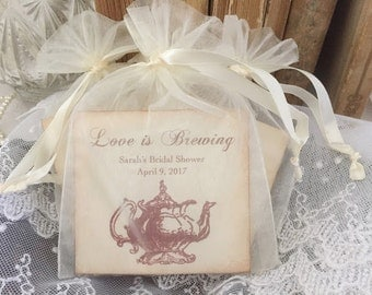 Tea Bag Favors Fully Assembled with Personalized Card Set of 10 Teapot Wedding Bridal Shower Organza Bags Love is Brewing