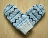 Hand-knit Scandinavian gray, blue and navy mittens -- original design