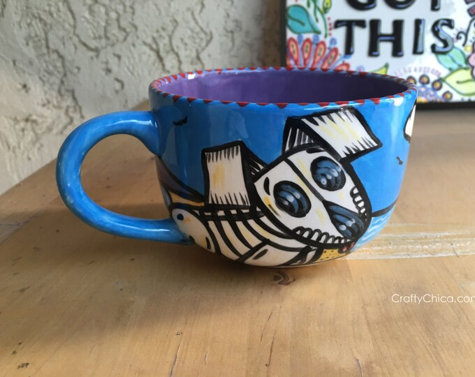 LATTE MUG Muertos Dog on the Beach