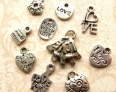 Silver Love Charm Mix - Set of 10 - Antique Silver Valentine Themed Pendants - Hearts, Love, Love Letter, Etc. (SC0098)
