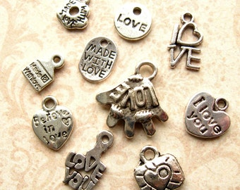 Silver Love Charm Mix - Set of 10 - Antique Silver Valentine Themed Pendants - Hearts, Love, Love Letter, Etc. (SC0098)