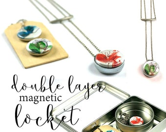 Layered and Long, Layered Necklace Set, Magnetic Locket, Abstract Floral Necklace, Abstract Floral Locket, Recycled Steel, Polarity