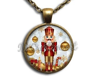 Nutcracker Ballet Golden Glass Dome Pendant or with Chain Link Necklace  BA110