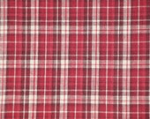 FLAWED Homespun Material | Cotton Material | Primitive Material | Wine, Red And Cream Plaid Material | 1 Yard