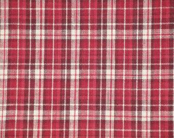 Homespun Material | Cotton Material | Primitive Material | Wine, Red And Cream Plaid Material | 32 x 44